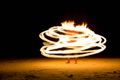 Man Doing Fire Show On Beach Party Royalty Free Stock Photos