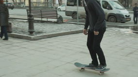Man doing a 360 flip in the outdoor stock video footage