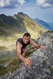 Man doing free climbing Royalty Free Stock Images