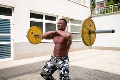 Man Doing Front Squats Royalty Free Stock Photos