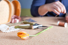 Man doing handmade gift for his beloved wife or girlfriend Royalty Free Stock Photo