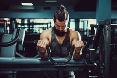 Man Doing Heavy Weight Exercise For Biceps On Machine In A Gym. Bearded Man Doing Heavy Weight Exercise For Biceps On Machine In A Gym Stock Photography