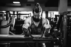 Man Doing Heavy Weight Exercise For Biceps On Machine In A Gym. Bearded Man Doing Heavy Weight Exercise For Biceps On Machine In A Gym Royalty Free Stock Photo
