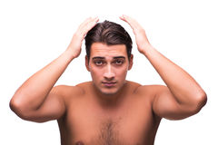 The man doing his hair isolated on white Royalty Free Stock Photos