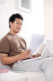 Man doing homework royalty free stock photos