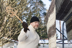 Man doing household chores stock photography