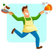 Man doing houswork Royalty Free Stock Images