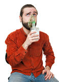 The man doing inhalation Stock Photos