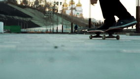 Man doing kickflip close-up stock footage