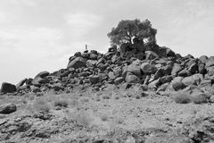Man doing levitation on rocks -B&W- Stock Images