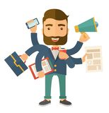Man doing multitasking. A young happy hipster Caucasian with beard has six arms doing multiple office tasks at once as a symbol of the ability to multitask Royalty Free Stock Images