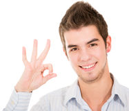 Man doing an ok sign Stock Photography
