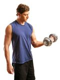 Man doing one arm bicep curl Royalty Free Stock Image