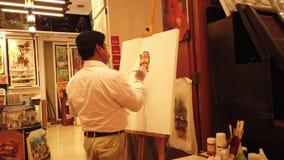 MAN DOING PAINTING royalty free illustration