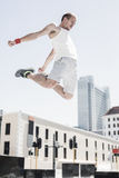 Man doing parkour in the city Royalty Free Stock Photo