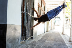 Man doing parkour in the city Royalty Free Stock Photos