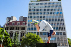 Man doing parkour in the city stock photo