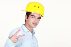 Man doing peace sign Stock Photography