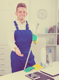 Man doing professional clean-up Royalty Free Stock Photo