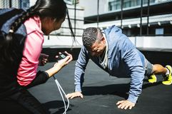 Man doing a push up royalty free stock image