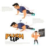 Man doing push up abdominals workout posture. character design. Logo fore header design - illustration stock illustration