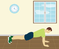 Man Doing Push Up In The Room Stock Images