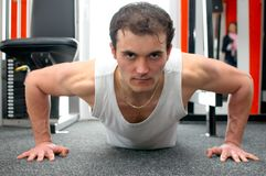 Man doing push-ups Stock Photo