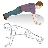Man Doing Push-ups. An image of a man doing push-up exercises Royalty Free Stock Image