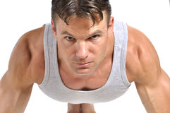 Man doing pushup Stock Photos