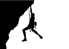 A man doing rock climbing on white background. Royalty Free Stock Photography