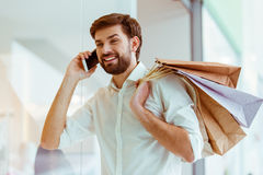 Man doing shopping royalty free stock photos