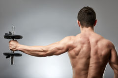 Man doing shoulder workout in studio Royalty Free Stock Photo