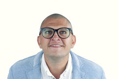 Man doing silly face with nerd glasses isolated Stock Photos