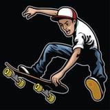 Man doing skateboard trick stunt. Vector of man doing skateboard trick stunt Royalty Free Stock Photos