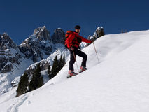 Ski touring in the mountains Royalty Free Stock Photography