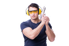The man doing sport shooting from gun isolated on white Royalty Free Stock Images