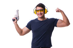 The man doing sport shooting from gun isolated on white Royalty Free Stock Photos