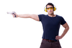 The man doing sport shooting from gun isolated on white Royalty Free Stock Photo