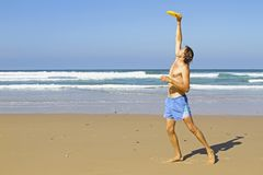 Man doing sports at the beach Stock Photo