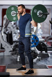 Man doing squats with barbell on neck Royalty Free Stock Photo