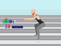 Man doing step up jumps with stairs outdoors stock illustration