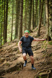 Man doing trail running in the forest Royalty Free Stock Photo