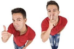 Man Doing Two Signs Of Ok And Silence Royalty Free Stock Photography