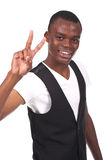 Man doing victory sign Stock Photography