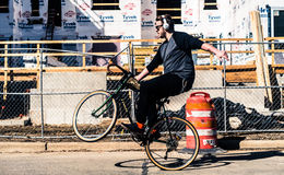 Man doing wheelie on bike Royalty Free Stock Photos