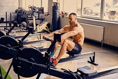 A man doing workouts on a back with power exercise machine. Athletic shirtless male doing workouts on a back with power exercise machine in a gym club Stock Photos
