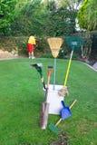 Man doing yard work Royalty Free Stock Images