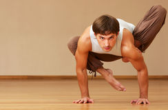 Man doing yoga royalty free stock photos