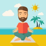 Man doing yoga in the beach. A hipster man doing yoga in the beach with his yoga pad under the sun.  Contemporary style with pastel palette, soft blue tinted Stock Photography