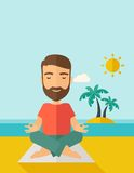 Man doing yoga in the beach Royalty Free Stock Image